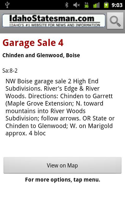 Idaho Statesman Garage Sales - screenshot