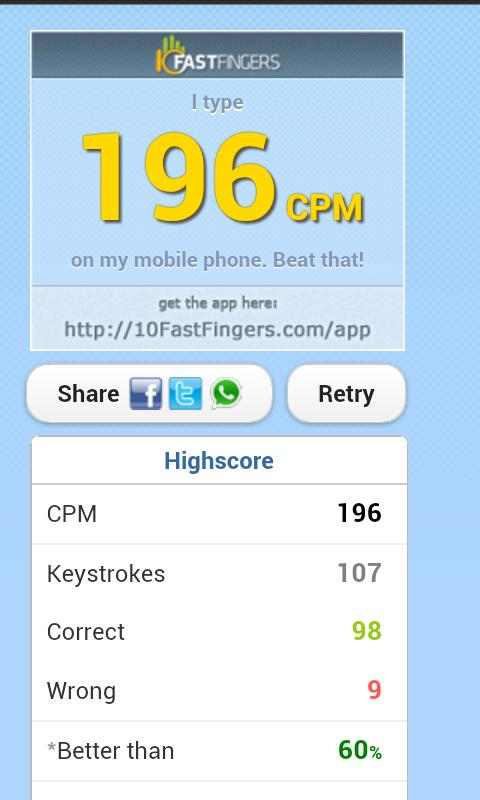 10FastFingers Typing Test - screenshot