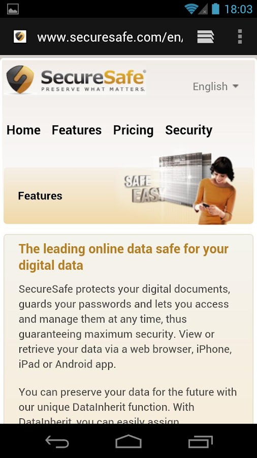 SecureSafe Digital Vault - screenshot