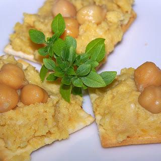 Hummus-ish And Chickpeas On Crackers.