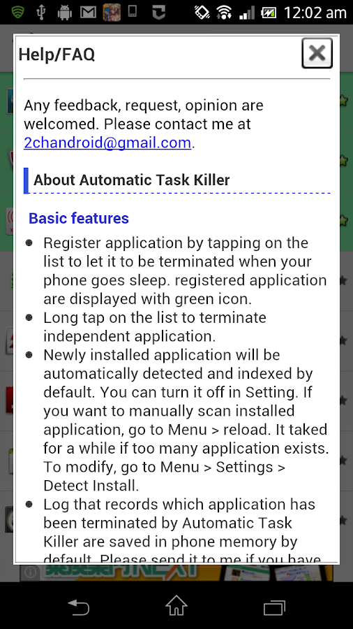 Automatic Task Killer - screenshot