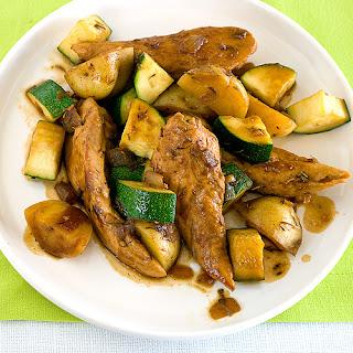 Seared Chicken with Maple glaze.