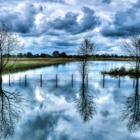 After flood by Oliver Švob - Landscapes Prairies, Meadows & Fields ( canon, clouds, farm, field, sky, hdr, tree, flood, flooded, corn,  )