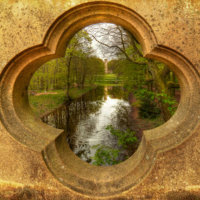 THROUGH THE BRIDGE by Ian Taylor - Landscapes Waterscapes ( water, reflection, park, trees, sedgefield, viewpoint, bridge, pond, hardwick )