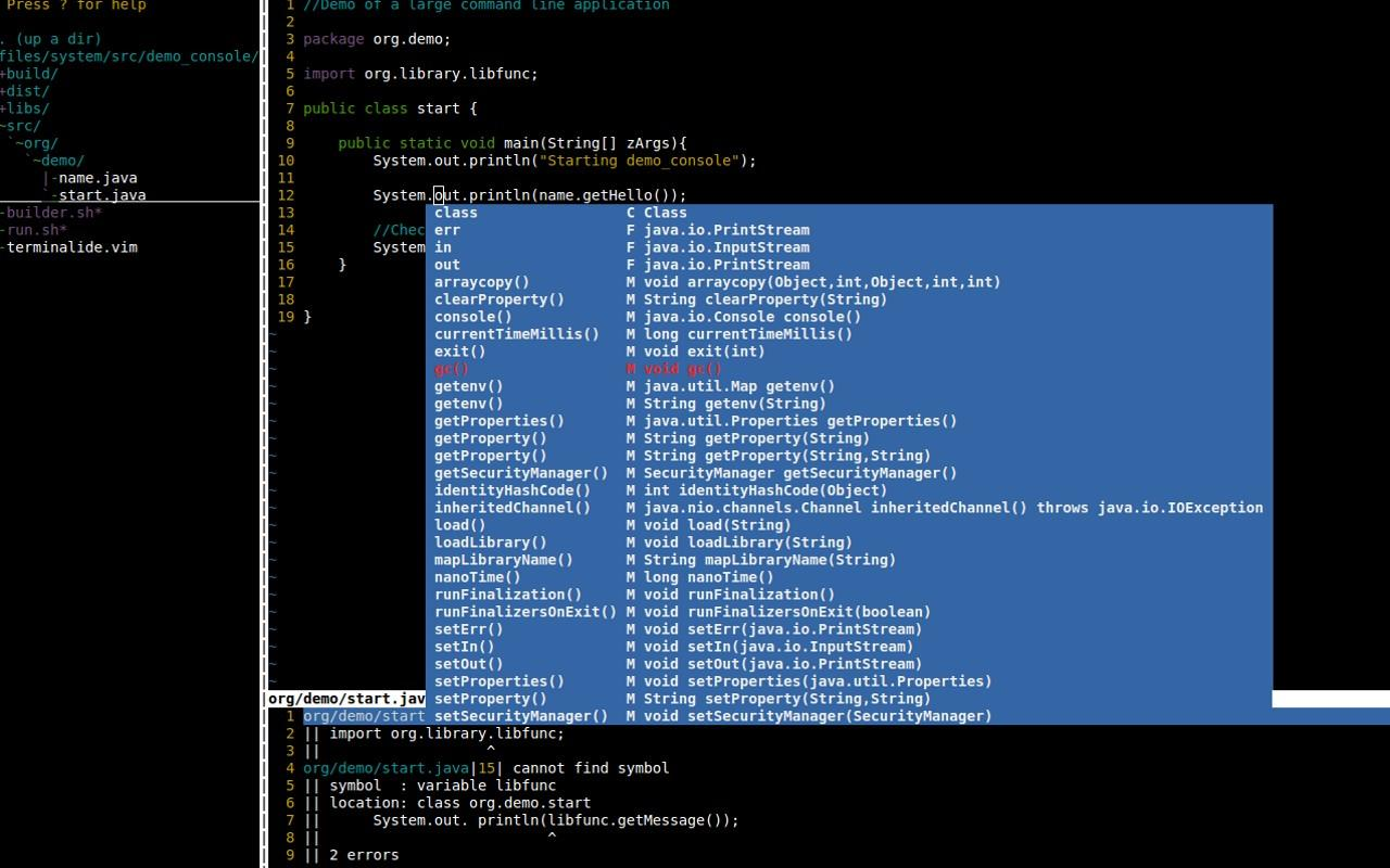 Terminal IDE- screenshot
