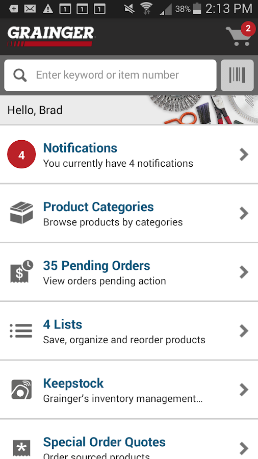 Grainger Mobile - screenshot