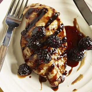 Pomegranate-Glazed Chicken with Blackberries.
