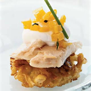 Potato Pancakes with Smoked Trout, Horseradish Crème Fraîche, and Golden Beet Relish.