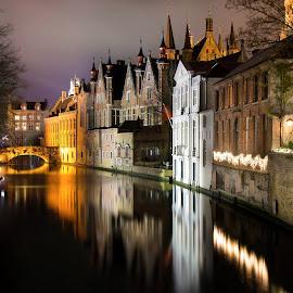 Brugge by Carlos Reyes - City,  Street & Park  Night