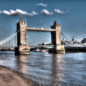 Tower Bridge by Michael McMurray - Buildings & Architecture Bridges & Suspended Structures ( clouds, england, uk, sky, hdr, thames, london, tower bridge, low tide, river,  )