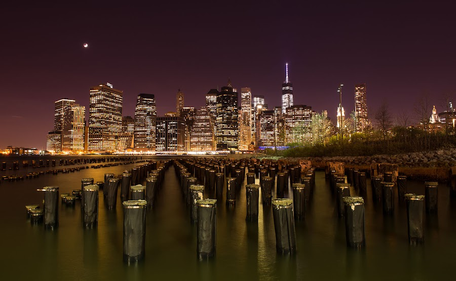 My night simphony by Ciprian Anton - City,  Street & Park  Skylines ( long exposure, manhattan, night, new york, city )