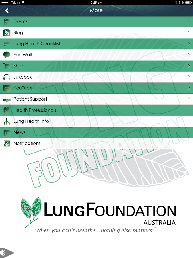 Lung Foundation Australia- screenshot