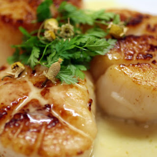 Seared Sea Scallops with Chamomile Beurre Blanc.