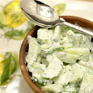 Sour Cream Dill Cucumber Salad.