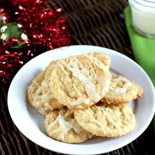 White Chocolate Drizzled Pina Colada Cookies.