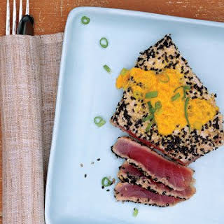 Sesame-Crusted Tuna with Carrot-Ginger Sauce.