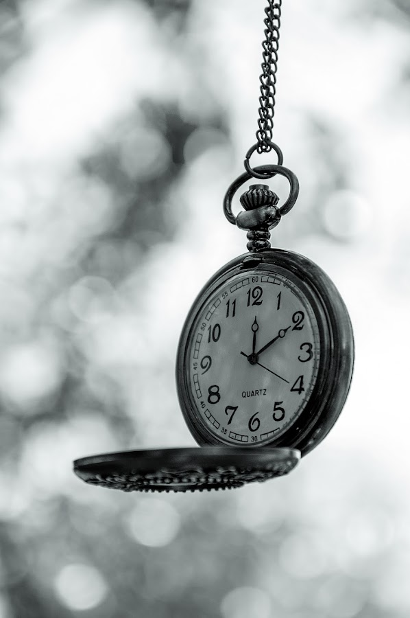 Time... by Luana Racan - Black & White Objects & Still Life ( watch time old black white bokeh romantic, , object, artistic, jewelry )