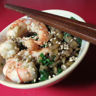 Wasabi Miso Lentils with Shrimp and Greens Recipe