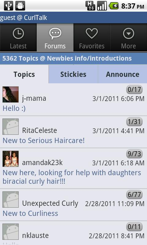 NaturallyCurly.com's CurlTalk - screenshot