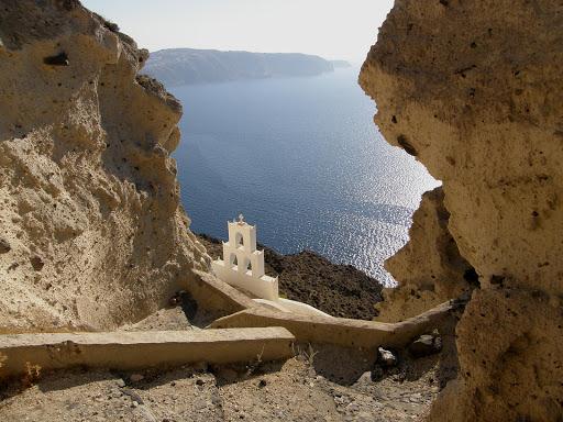 "Agios-Nikolaos-Santorini-Greece - The caved-in church ""Agios Nikolaos"" at the caldera in Megalochori, Santorini."