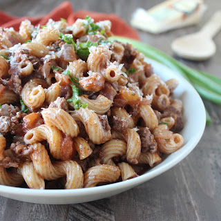 One Pot Mediterranean Spiced Beef and Macaroni.