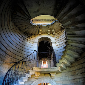 Lost in the Old Hall by Phil Robson - Buildings & Architecture Public & Historical ( england, spiral staircase, national trust, deleval hall, seaton )