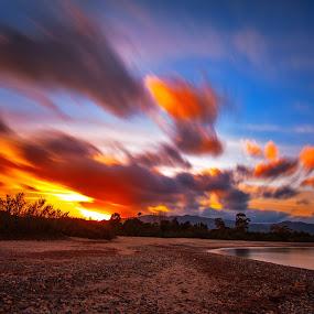 Burned Sky by Gabriele Copez - Landscapes Sunsets & Sunrises ( sardegna, red, sky, sunset, italy, sun )