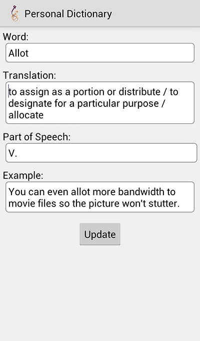 Personal Dictionary- screenshot