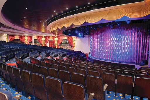 Norwegian-Pride-Of-America-Hollywood-Theatre - Norwegian Cruise Line's Pride of America's Hollywood Theatre on deck 5 has starry carpets, golden statues and nightly shows on stage.