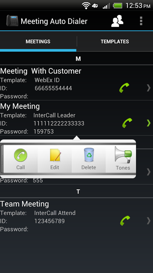 Meeting Auto Dialer - screenshot
