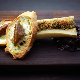 Baked Bone Marrow with Onion Jam and Gentleman's Relish