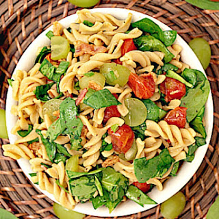 Pasta Salad with Roasted Tomatoes, Bacon and Spinach.
