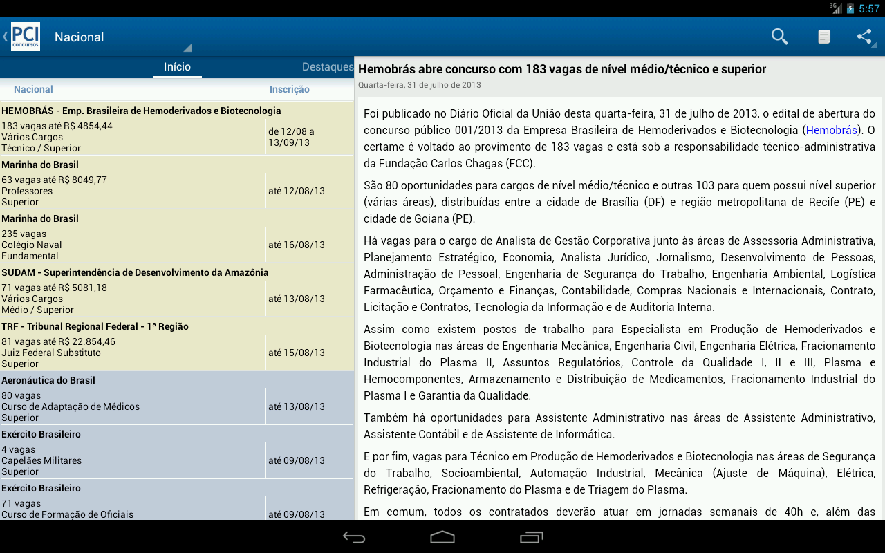 PCI Concursos - screenshot