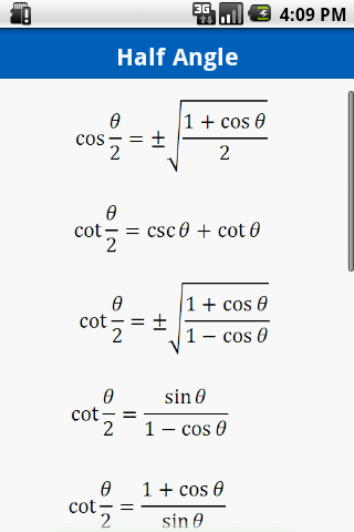 Trigonometry Formulas Free - screenshot