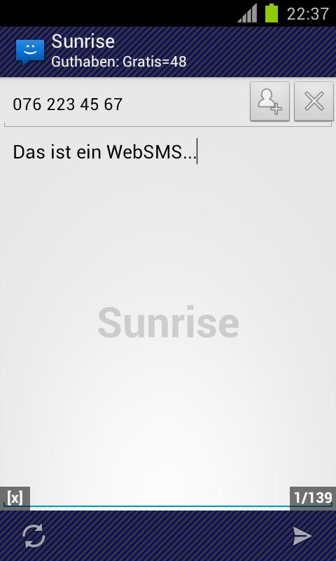 WebSMS: Sunrise Connector - screenshot