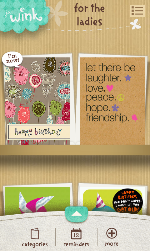 justWink Greeting Cards - screenshot