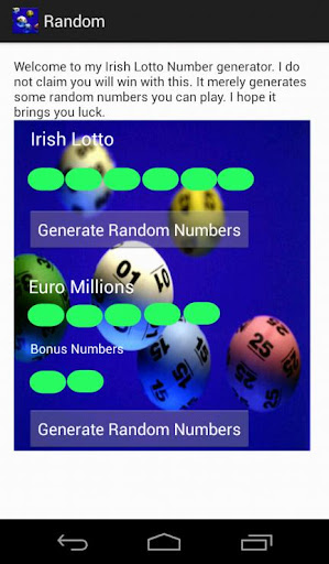 Irish Lottery Number Generator