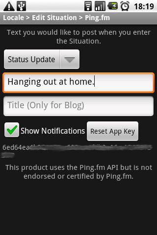 Locale Ping.fm Plug-In Pro - screenshot