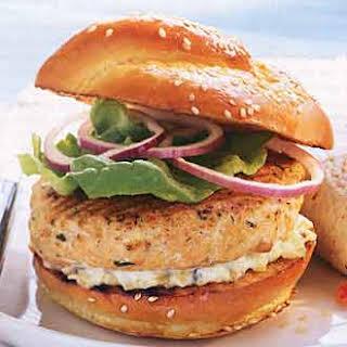Salmon Burgers with Dill Tartar Sauce.