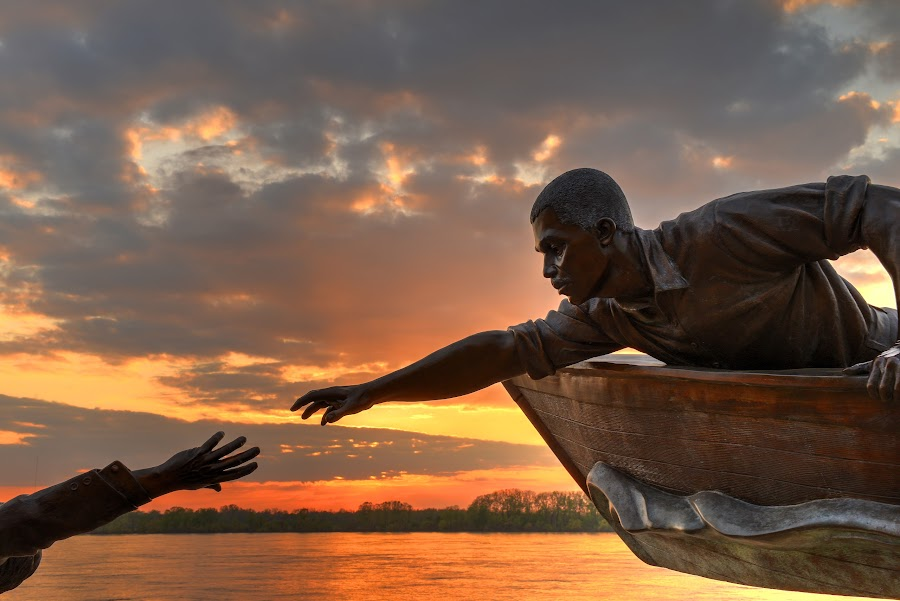 The Rescue by Ajit Pillai - Buildings & Architecture Statues & Monuments ( sunset, boats, rescue, tom lee, river, mississippi )