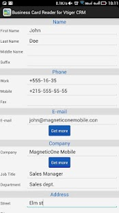Business Card Reader Free for Vtiger CRM- screenshot thumbnail