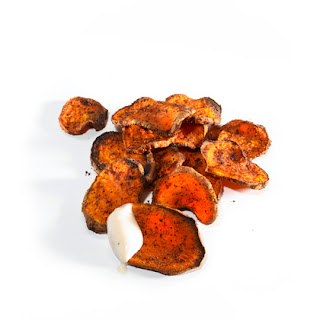 Oven Roasted Sweet Potato Chips with Ranch Dip.
