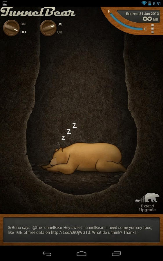TunnelBear VPN - screenshot