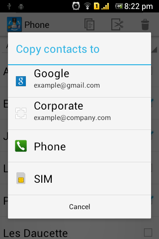 Copy Contacts - screenshot