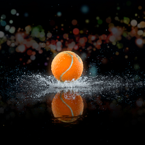 Bouncing Splash by Fahad Iqbal - Artistic Objects Other Objects ( canon, reflection, liquid, splash, droplet, drop, artistic, bokeh, tennis ball )