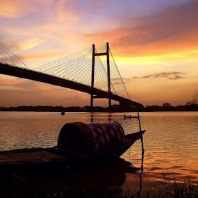 The bridge & the boat. by Debasish Naskar - Buildings & Architecture Bridges & Suspended Structures