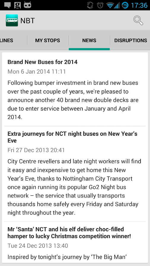 NBT Nottingham Bus Timetables- screenshot