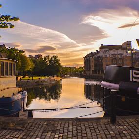 Shored up boats on Leith harbour, Edinburgh by Lyndsay Hepburn - Transportation Boats ( boatsonwater, boatsonriver, leithdocks, leithharbourboats, leithharbour,  )