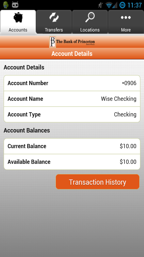 The Bank of Princeton Mobile- screenshot