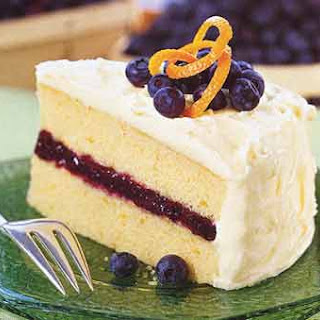 Blueberry and Orange Layer Cake with Cream Cheese Frosting.